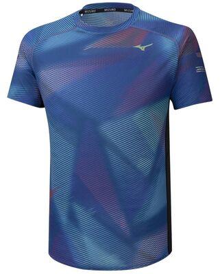 Mizuno Aero Graphic Tee Erkek T-shirt Mavi/Gri