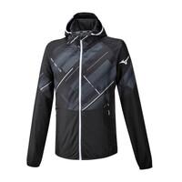 Mizuno Printed Jacket Erkek Yağmurluk Siyah/Desenli - Thumbnail