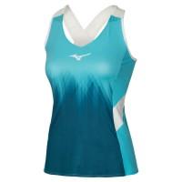 Printed Tank Kadın T-shirt Mavi - Thumbnail