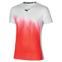 Mizuno Shadow Graphic Tee Erkek Tshirt Beyaz/Kırmızı - Thumbnail