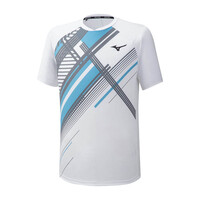 Mizuno Shadow Tee Erkek T-Shirt Beyaz/Desenli - Thumbnail