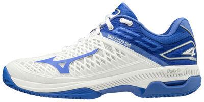 Mizuno Wave Exceed Tour 4 CC Unisex Tenis Ayakkabısı Beyaz / Mavi