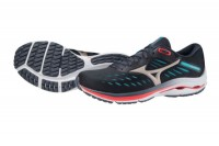 Mizuno Wave Rider 24 Erkek Koşu Ayakkabısı Siyah - Thumbnail